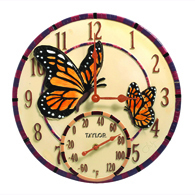Taylor 91019T Mosaic Butterfly Indoor/Outdoor Clock & Thermometer